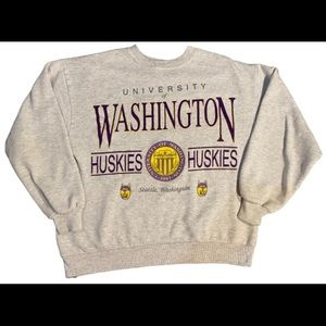 UW Huskies gray crewneck sweater L jerzees tag